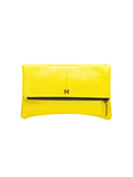 MOFE Leather Handbag Esoteric Pebble Leather Foldover Day and Evening Clutch Yellow