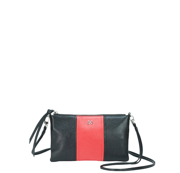 a7d263720cb7 KINETIC black   red colorblock leather crossbody bag and clutch ...
