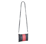 MOFE Leather Handbag Kinetic Crossbody Bag and Clutch Colorblock Black Tomato Red