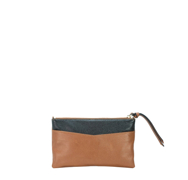 7ea546009547 KINETIC brown   black colorblock leather crossbody bag   clutch ...