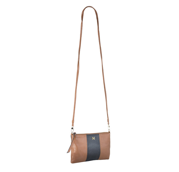 fc2008af3ff7 ... MOFE Leather Handbag Kinetic Crossbody Bag and Clutch Colorblock Brown  and Black ...
