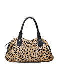 MOFE Leather Handbag Urbane Top Handle Satchel Crossbody Bag With Strap Cheetah Leopard Animal Print