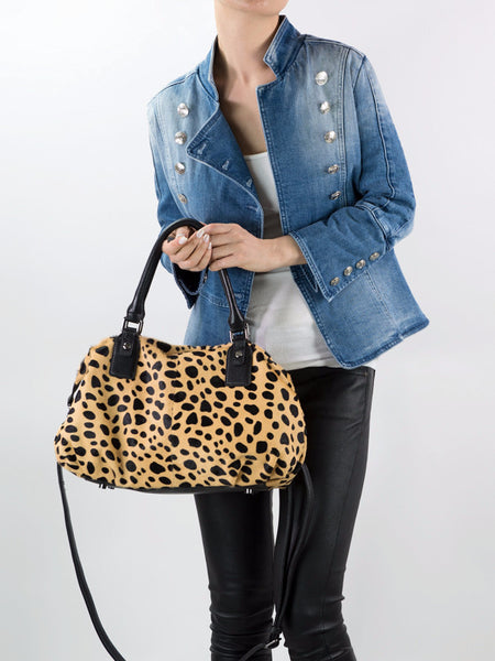 2fe1834022a7 ... MOFE Leather Handbag Urbane Top Handle Satchel Crossbody Bag With Strap  Cheetah Leopard Animal Print