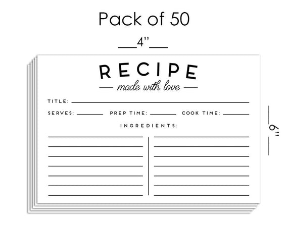 Set of 50 Premium Recipe Cards - 4x6 Double Sided