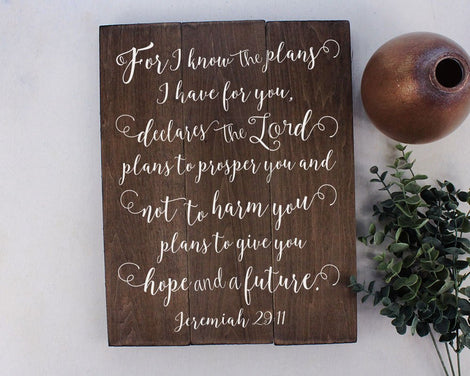 Jeremiah 29:11  For I Know The Plans-Bible Verse Sign