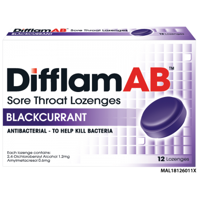 Difflam AB Sore Throat Lozenges (Blackcurrant) 12's