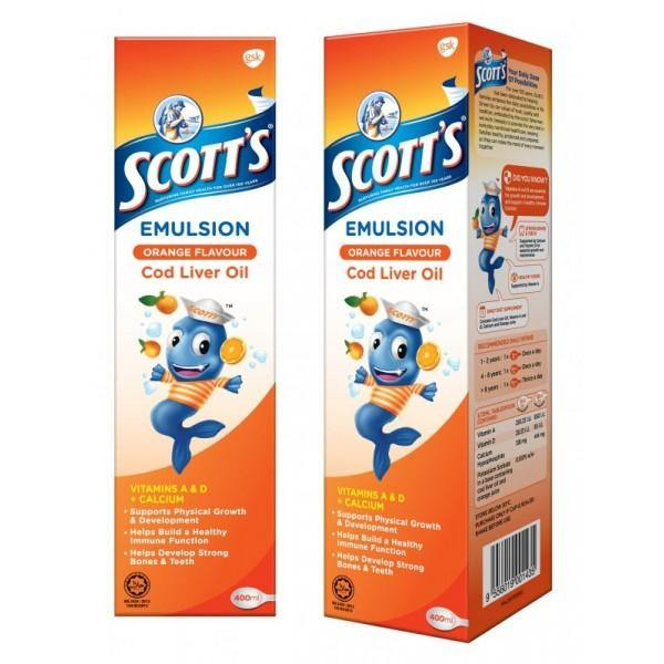 SCOTT'S Emulsion Cod Liver Oil Extra Orange Flavor  400ml HALAL