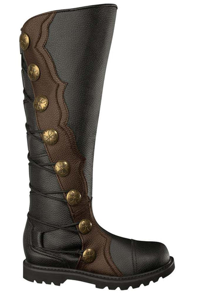 Men S Black And Brown Leather Knee High Ren Boots 9912