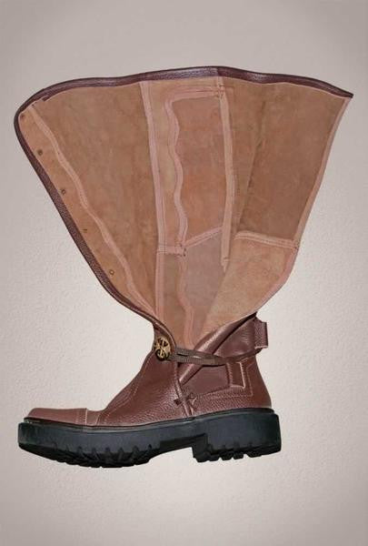 double coupon newest style of first look Men's Brown Leather Knee High Renaissance Boots 9912-BR
