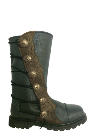 Men's Black and Brown Leather Mid-Calf Ren Boots 9911-BKBR