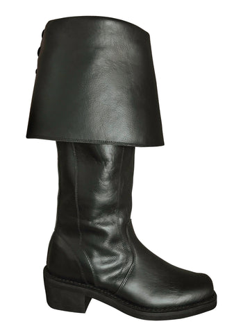 Black Knee-High Leather Pirate Boots 9950-BK
