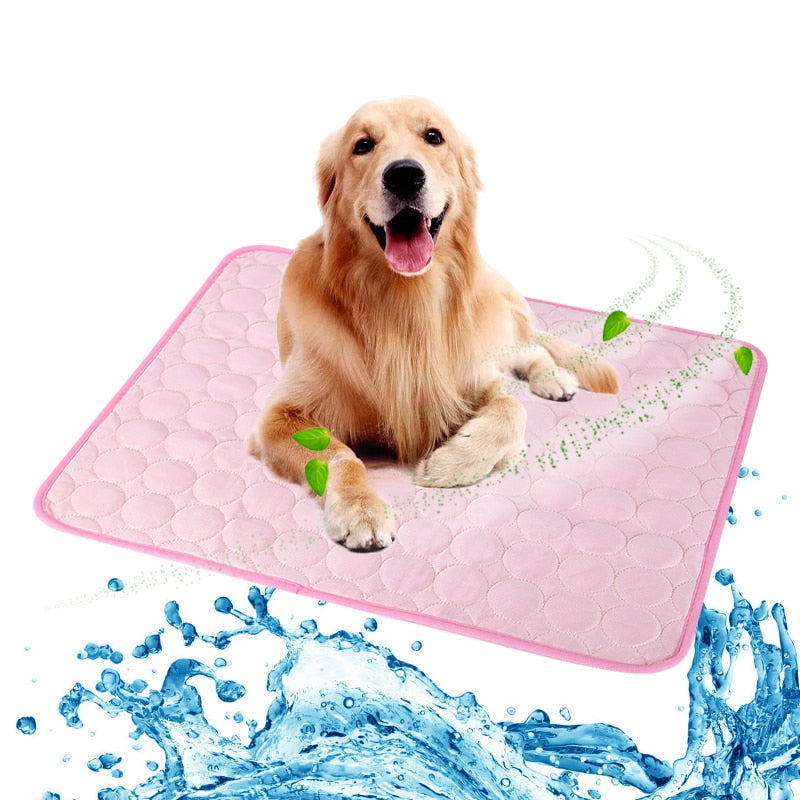 Pet Pad Summer Cooling Mat Dog Beds Mats Blue Pet Ice PadBeds Mats Blue Pet Ice Pad Cool  Cold Silk Moisture-Proof  Cooler Mattress Cushion Puppy - Rite Gadgets