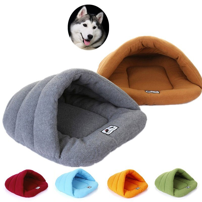 Warm Soft Polar Fleece Dog Beds Winter Warm Pet Heated Mat Slippers Beds Kennel House for Cats Sleeping Bag Nest Cave Bed - Rite Gadgets