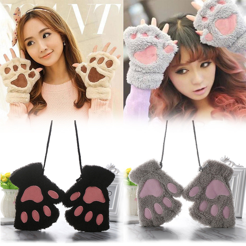 Fluffy Bear/Cat Plush Paw/Claw Girls Gloves Novelty Halloween Soft Toweling Half Covered Women's Gloves Mittens Fingerless - Rite Gadgets