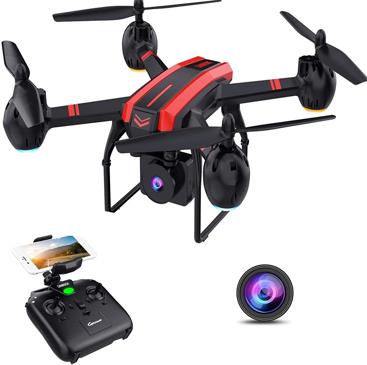 SANROCK Drones with Camera for Adults and Kids, 1080P Full HD FPV Live Video, X105W RC Quadcopter App Control, Altitude Hold, Headless Mode, Trajectory Flight, Gravity Sensor, 3D Flip - Rite