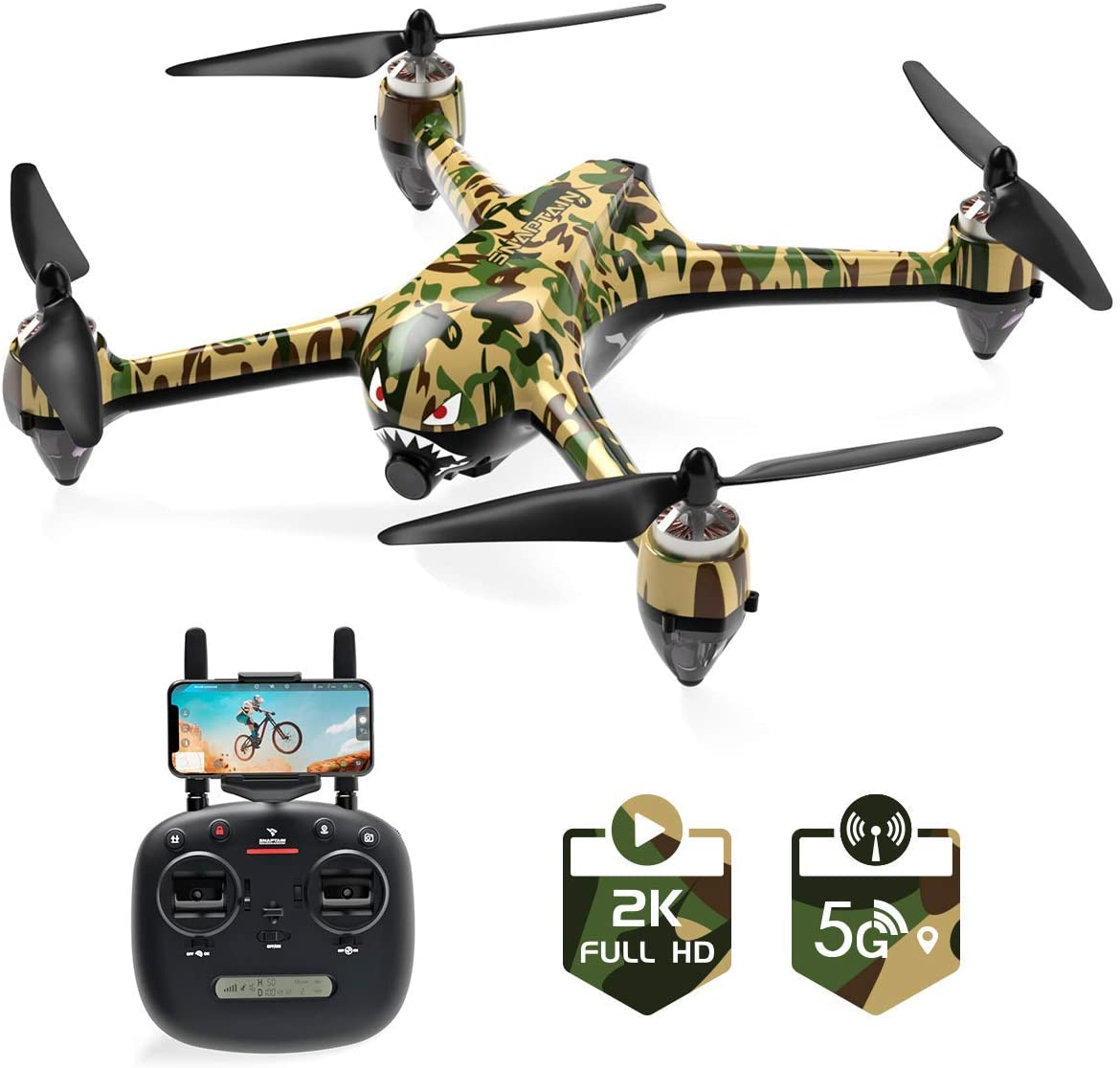 SNAPTAIN SP700 GPS Drone with Brushless Motor, 5G WiFi FPV RC Drone for Adult with 2K Camera Live Video, Follow Me, APP Control, GPS RTH, Circle Fly, Point of Interest, Module Battery - Rite