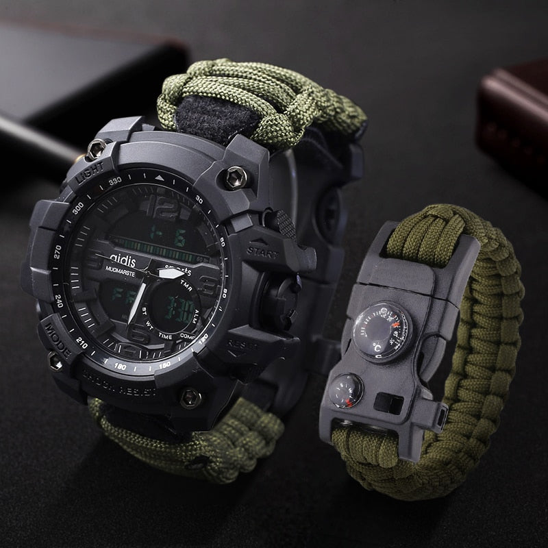 LED Military Watch with compass 30M Waterproof men's Sports Watch Men Sport Watch Shock Sport Watches Electronic Wristwatches - Rite Gadgets