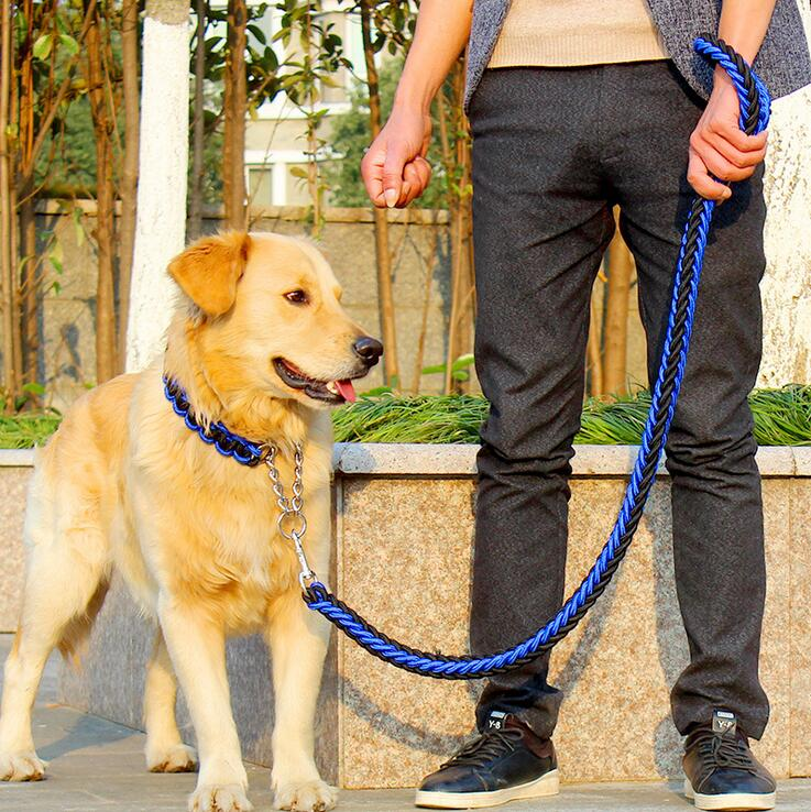 Double Strand Rope Large Dog Leashes Metal P Chain Buckle National Color Pet Traction Rope Collar Set For Big Dogs 1.2m Length - Rite Gadgets