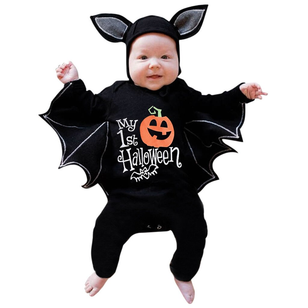 Novelty Baby's Romper Toddler Newborn Baby Boys Girls Halloween Cosplay Costume Romper Hat Outfits Batwing Sleeve Baby Clothing - Rite Gadgets