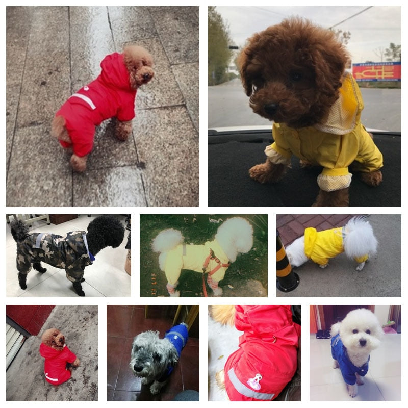 Dog Raincoat Puppy Rain Coat with Hood Reflective Waterproof Dog Clothes Soft Breathable Pet Cat Small Dog Rainwear XS - 2XL - Rite Gadgets