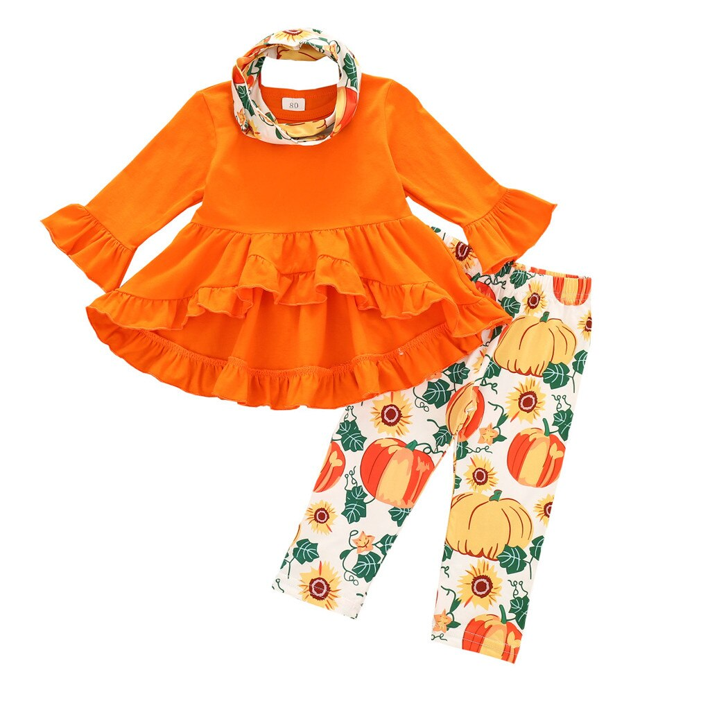 Kids Halloween Tails Dress Sets Toddler Baby Girls Long-sleeved Pumpkin Print Outfits Set Baby Toddler Girl Clothes Winter 2020 - Rite Gadgets