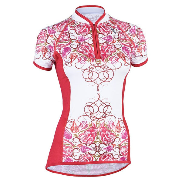 Shebeest Divine Cycling Jersey in Hot Tomato