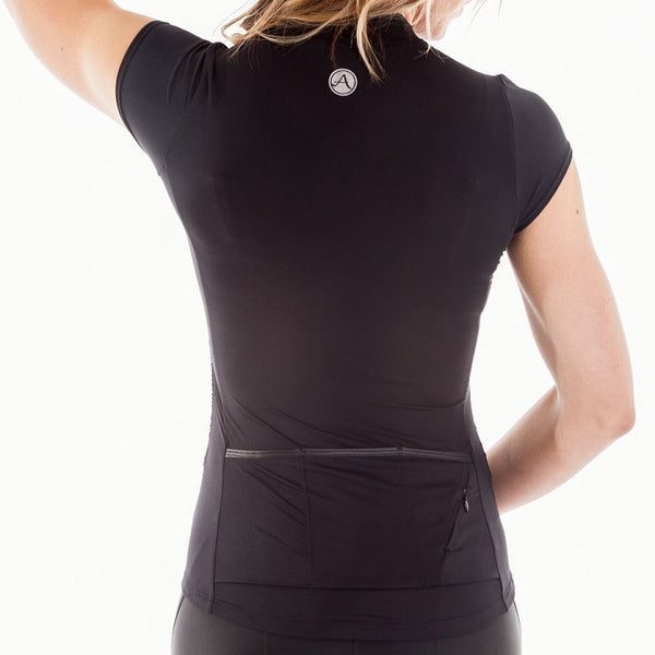 Back view of black cycling jersey