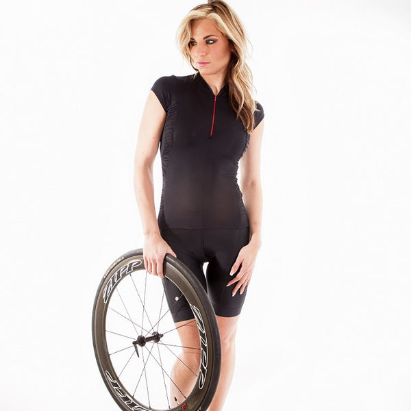 Black cycling jersey with red zipper