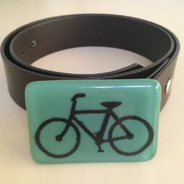 Glass Bicycle Belt Buckle in Forest Green