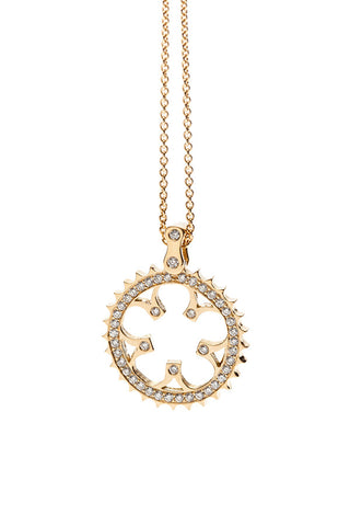 Bike Chainring pendant 18K yellow gold