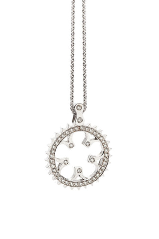 Bike Chainring Pendant 18K white gold