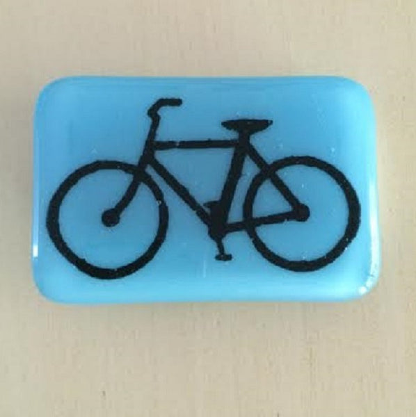 Glass Bicycle Belt Buckle in Sky Blue