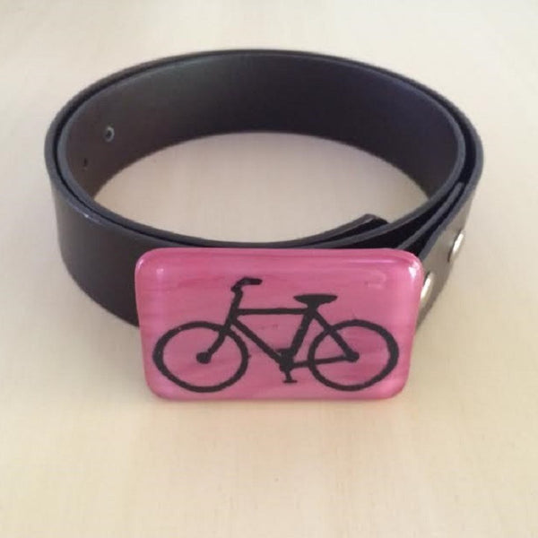 Glass Bicycle Belt Buckle in Dusty Rose