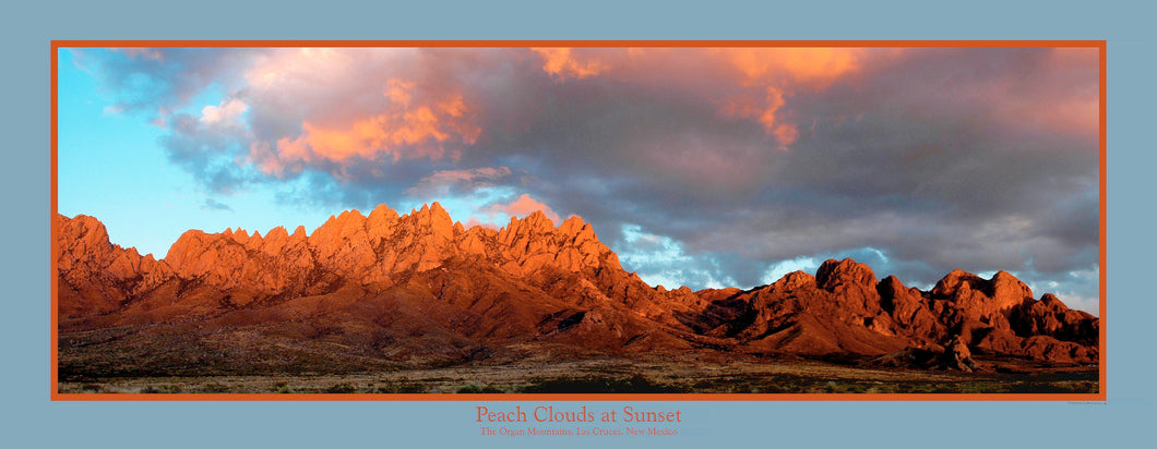 Peach Clouds at Sunset - Panoramic poster 14x36