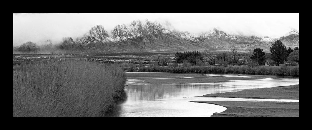 Snowy Organs and Rio Grande - Black & white panoramic poster 15x36