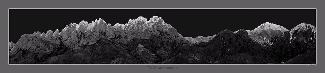 Snow-Dusted Organ Mountains Black & White