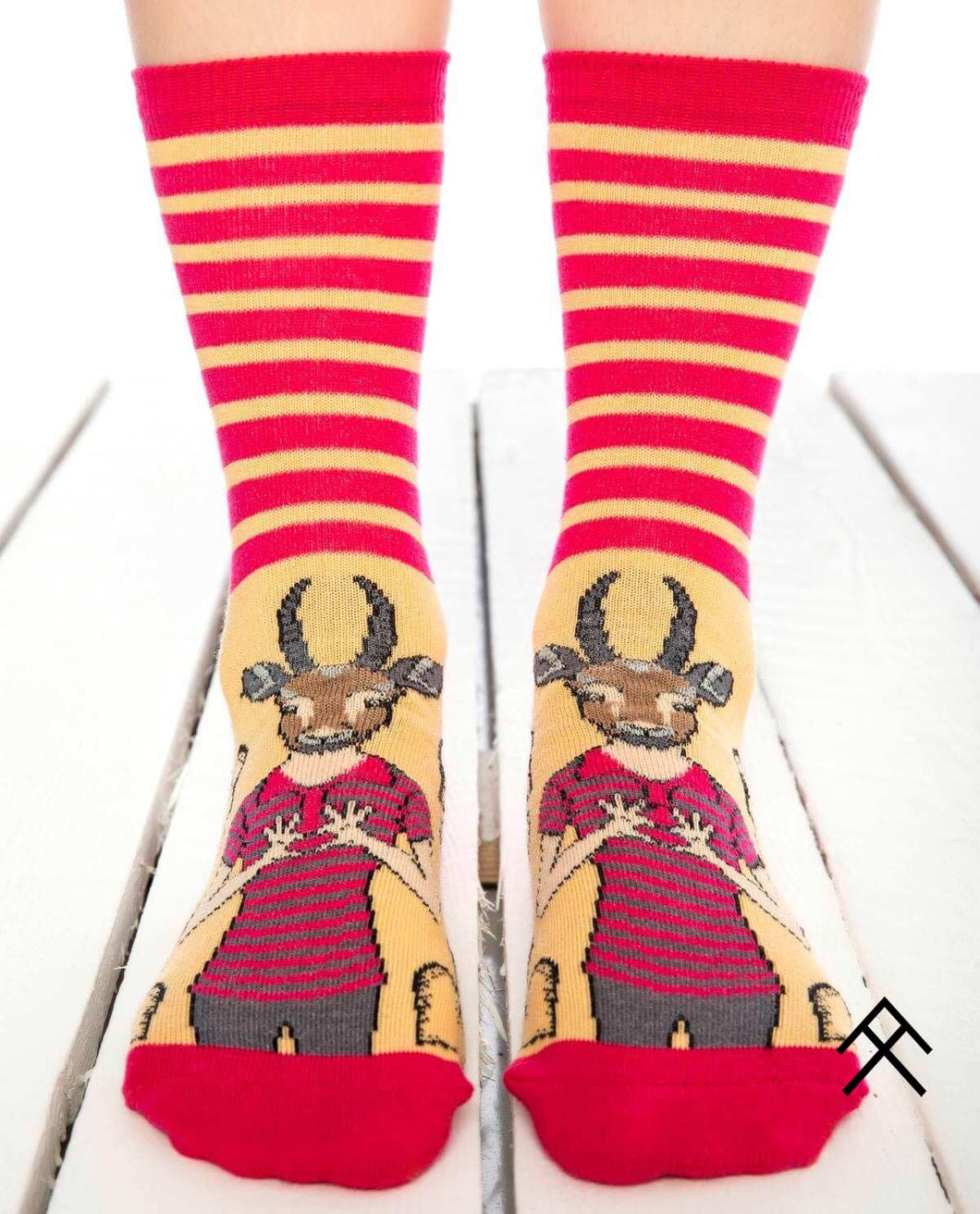 Gazelle Head Print Red Socks