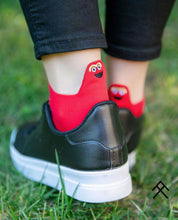 Load image into Gallery viewer, Red Short Socks with Happy Emoji