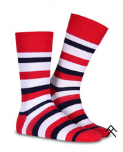 Load image into Gallery viewer, Stripe Print Red Socks