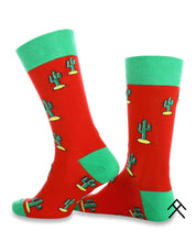 Load image into Gallery viewer, Cactus Print Red Socks