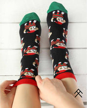 Load image into Gallery viewer, Dog with Christmas Hat Print Socks