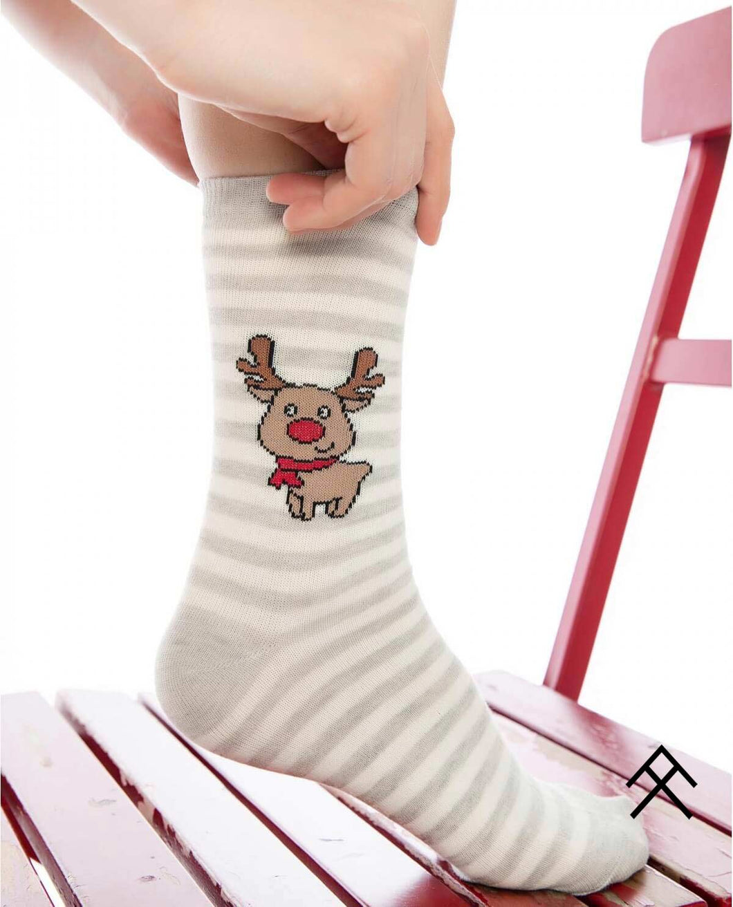 Deer Print Socks with Stripes