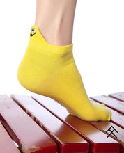 Load image into Gallery viewer, Yellow Short Socks with Happy Emoji