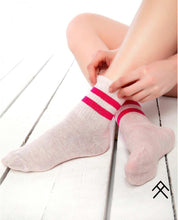 Load image into Gallery viewer, Pink Sport Socks with Fuchsia Stripes