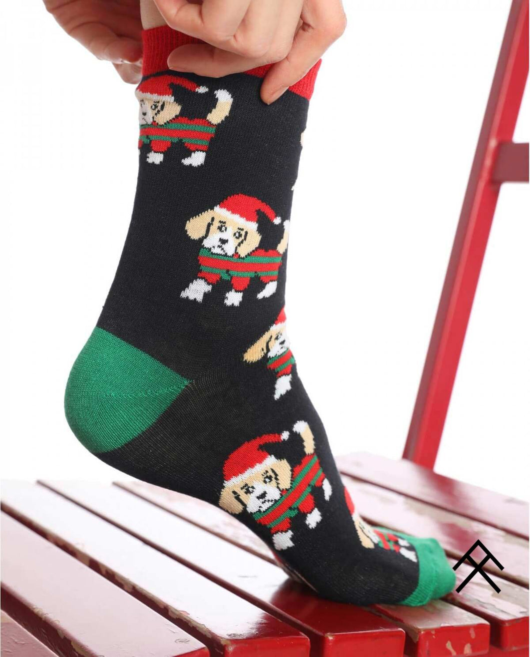 Dog with Christmas Hat Print Socks