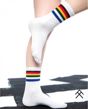 Load image into Gallery viewer, White Sport Socks with Colorful Stripes