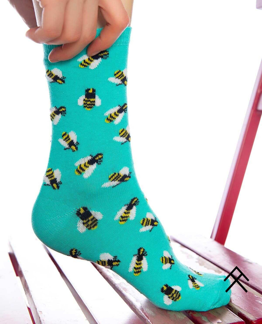 Blue Socks with Bee Pattern