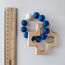 Load image into Gallery viewer, Blue and white marble silicone rosary ring next to ruler
