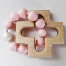Load image into Gallery viewer, Pink and Pearl silicone bead ring through wooden cross teether