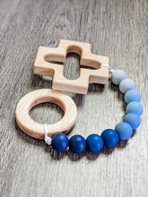 Load image into Gallery viewer, Baby boy baptism gift: silicone teething rosary strand